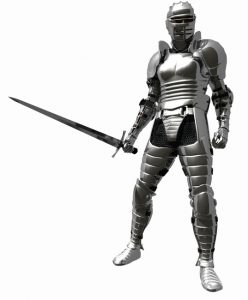 Knight in shining Medieval Armour holding a sword, 3d digitally rendered illustration
