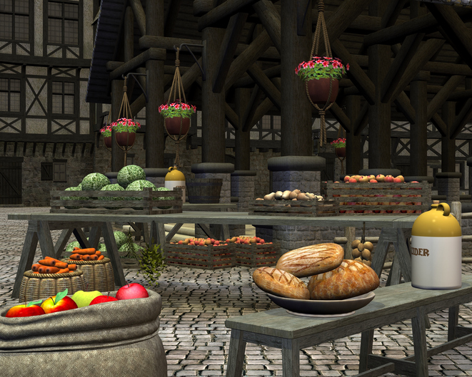 Farmers market with fresh seasonal fruit and vegetables in an old town square by a medieval market hall, 3d digitally rendered illustration.